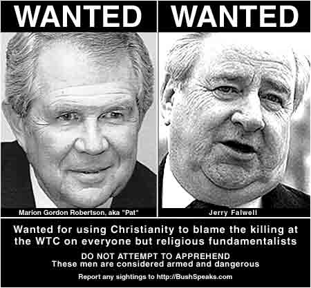 jerry falwell and pat robertson blame 911 on aids gays